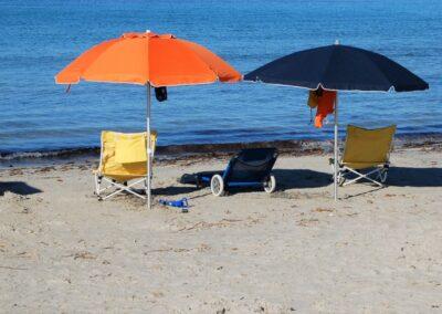 Ombrelloni in spiaggia a Putzu-Idu